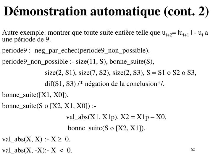 Démonstration automatique (cont. 2)