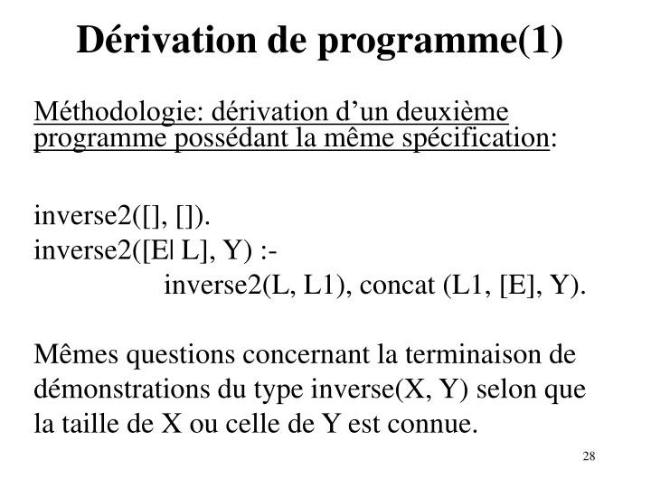 Dérivation de programme(1)