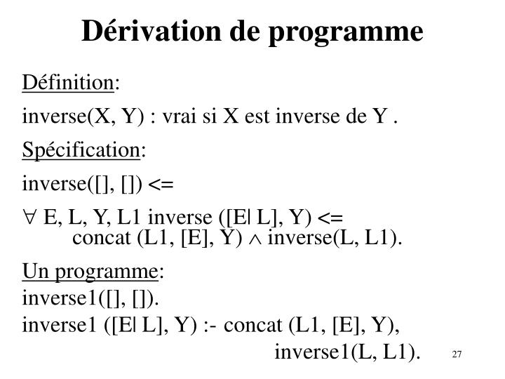 Dérivation de programme
