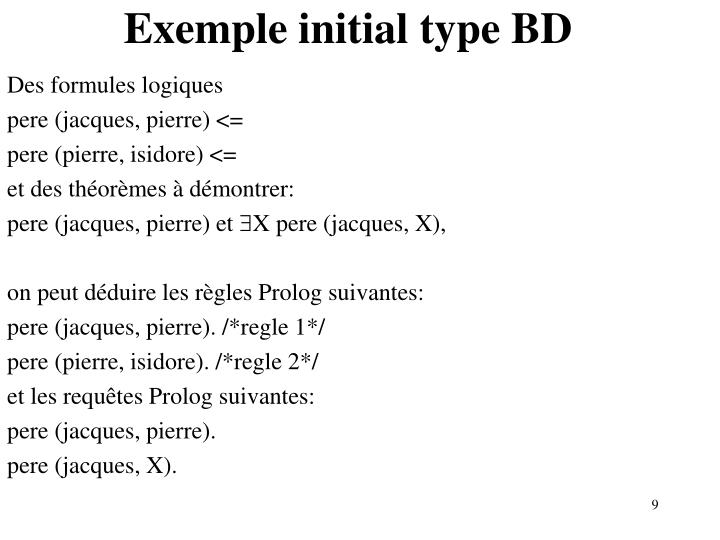 Exemple initial type BD