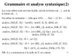 grammaire et analyse syntaxique 2