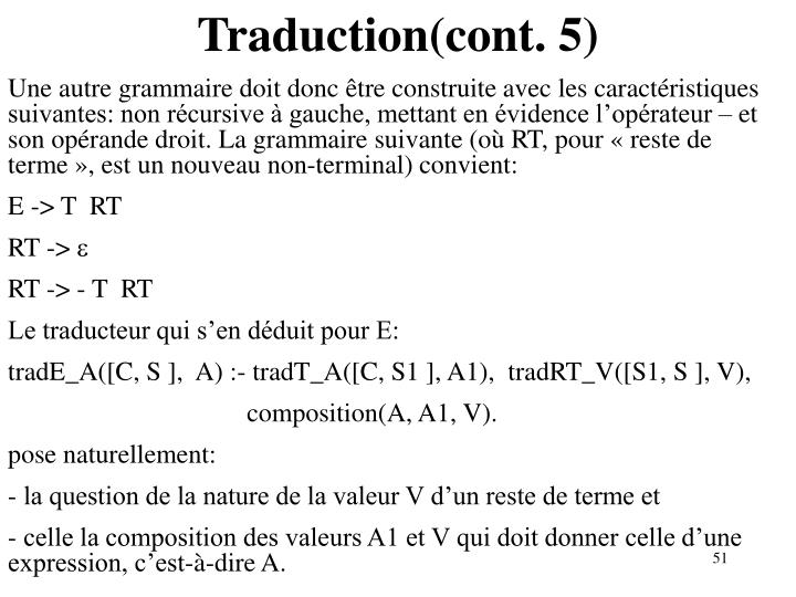 Traduction(cont. 5)