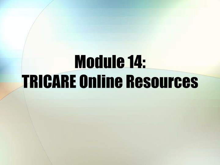 module 14 tricare online resources