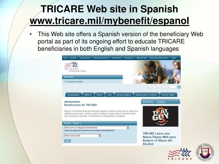 TRICARE Web site in Spanish