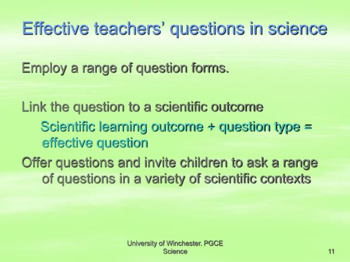 Effective teachers' questions in science