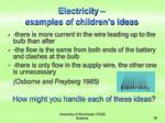 electricity examples of children s ideas