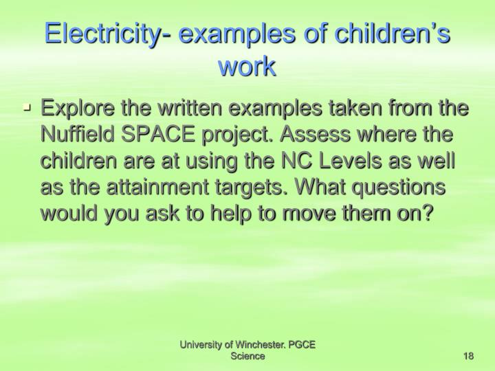 Electricity- examples of children's work