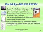 electricity nc ks1 ks2 ey