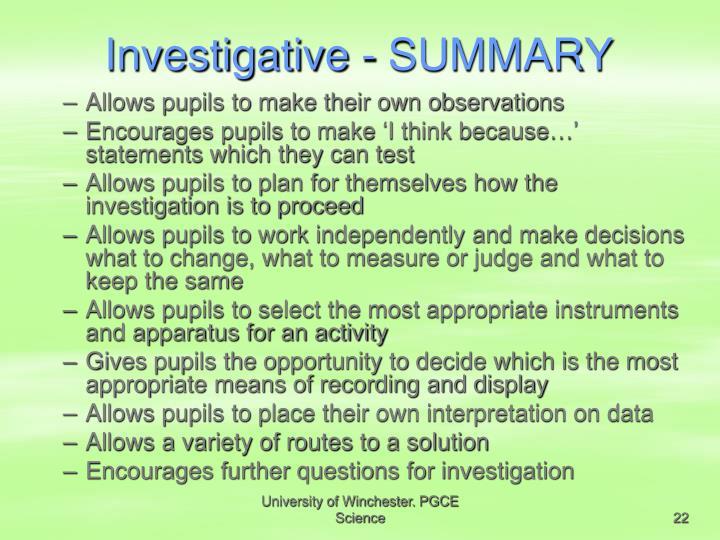 Investigative - SUMMARY