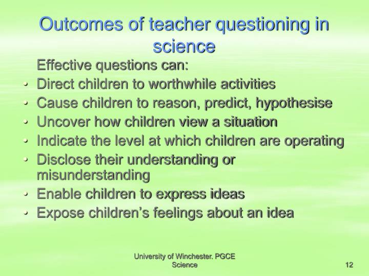 Outcomes of teacher questioning in science