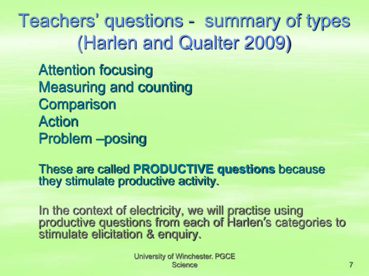 Teachers' questions -  summary of types (Harlen and Qualter 2009)