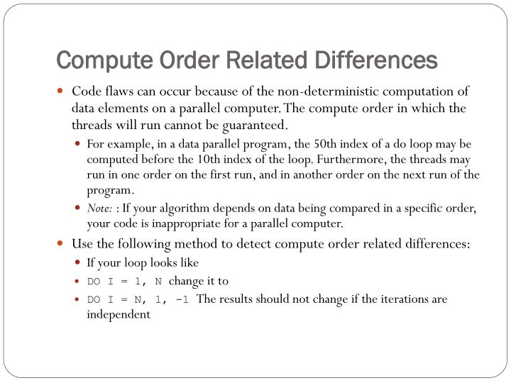 Compute Order Related Differences