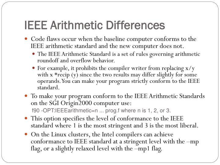 IEEE Arithmetic Differences