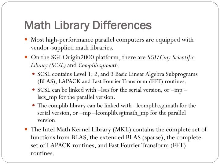 Math Library Differences