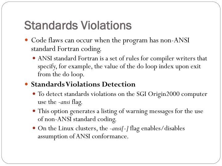 Standards Violations