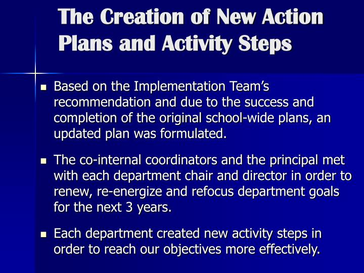 The Creation of New Action Plans and Activity Steps