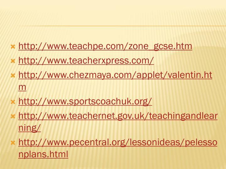http://www.teachpe.com/zone_gcse.htm