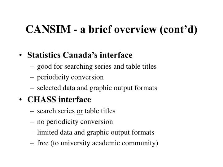 CANSIM - a brief overview (cont'd)