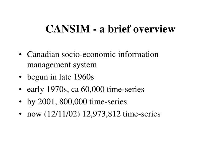 CANSIM - a brief overview