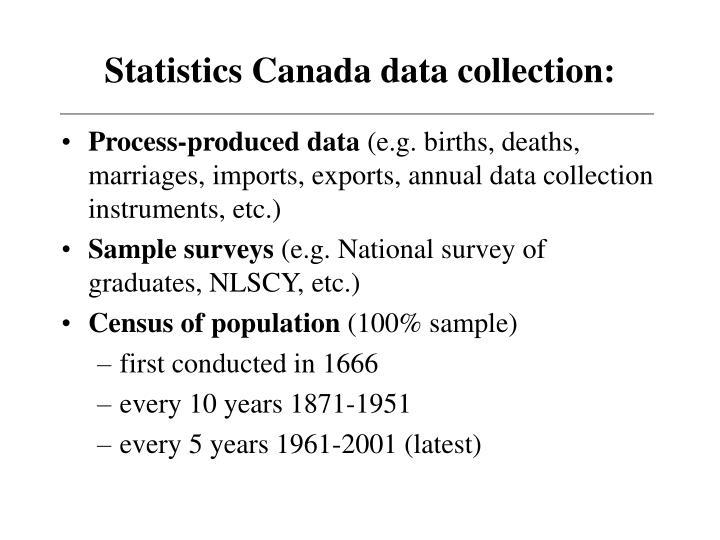 Statistics Canada data collection: