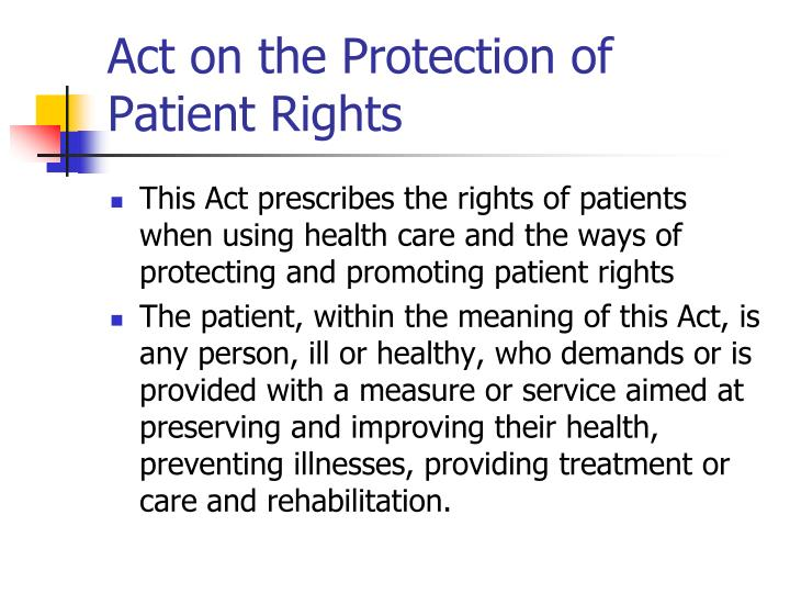 Act on the Protection of Patient Rights
