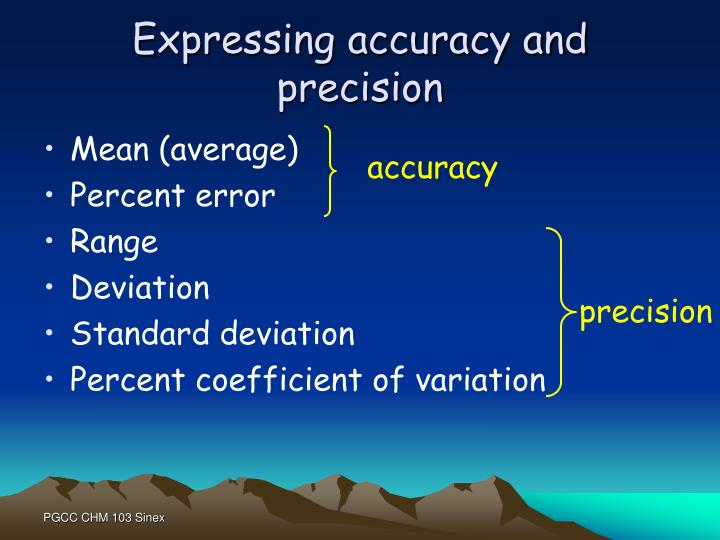 Expressing accuracy and precision