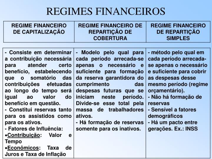 REGIMES FINANCEIROS