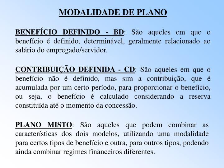 MODALIDADE DE PLANO