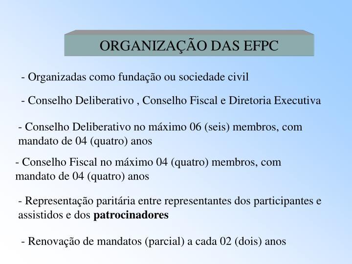 ORGANIZAÇÃO DAS EFPC