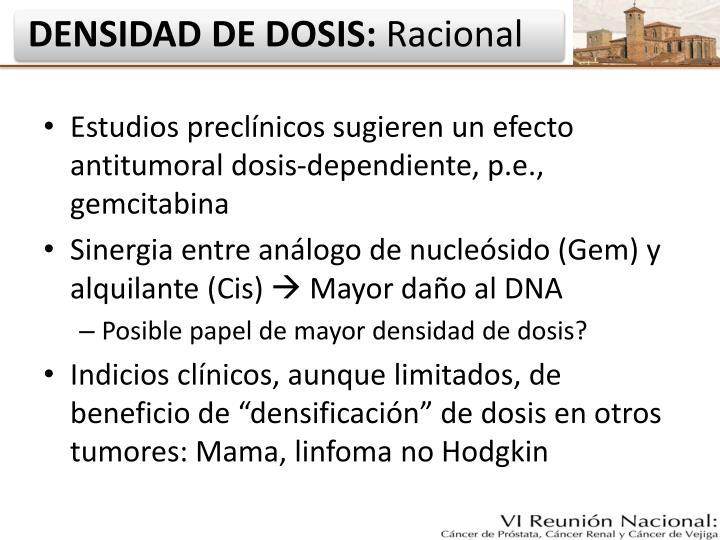 Estudios preclínicos sugieren un efecto antitumoral dosis-dependiente, p.e., gemcitabina