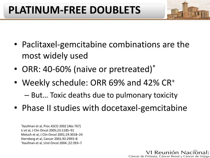 Paclitaxel-gemcitabine combinations are the most widely used