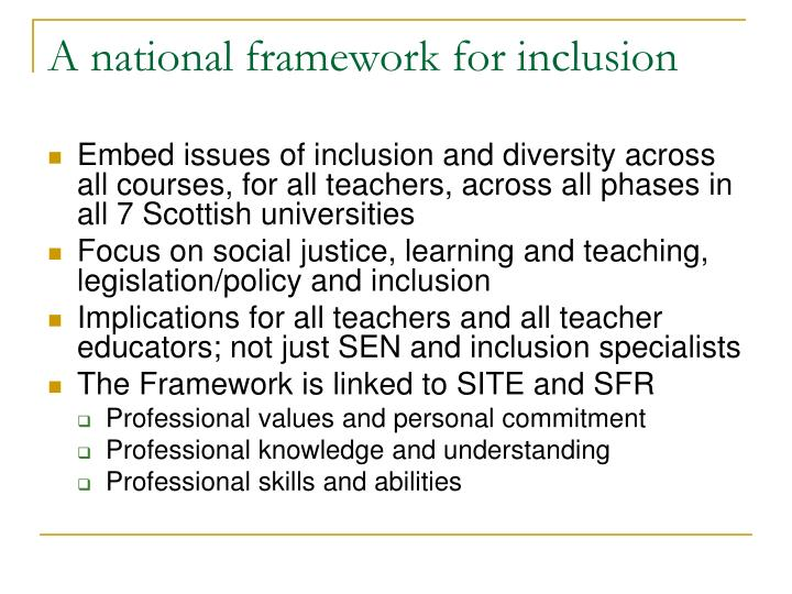 A national framework for inclusion