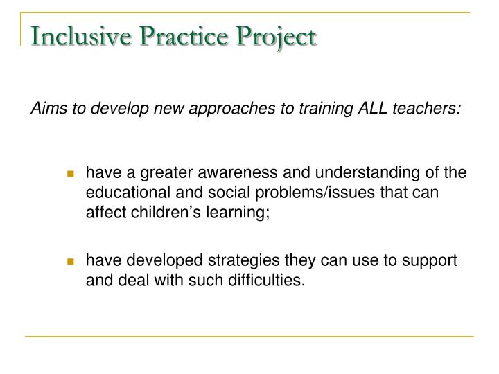Inclusive Practice Project