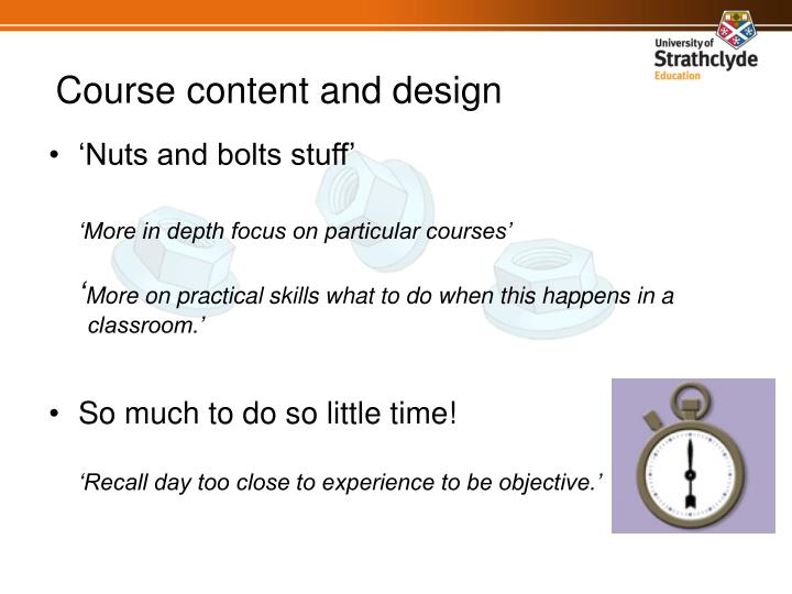 Course content and design