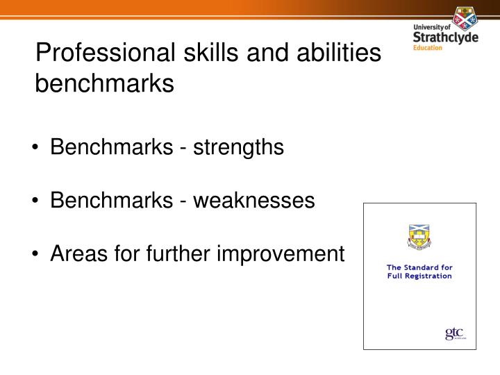 Professional skills and abilities benchmarks