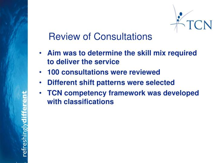 Review of Consultations