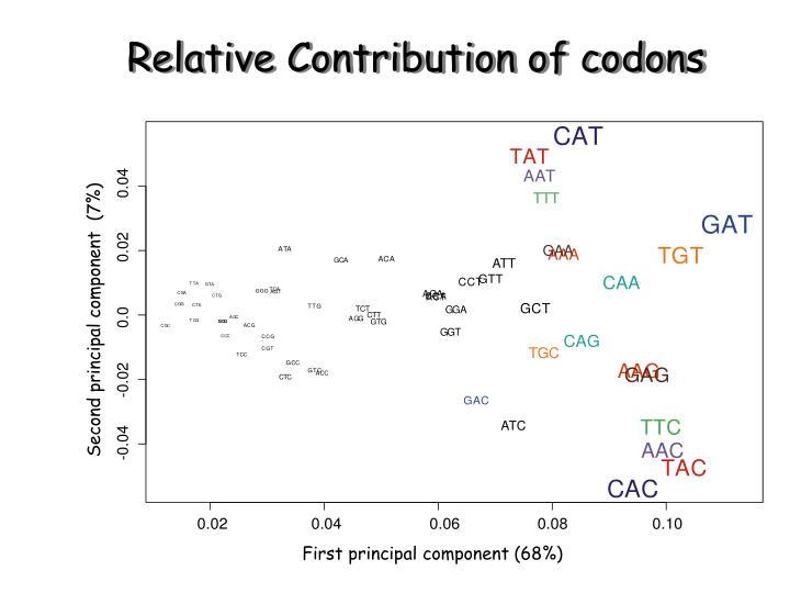 Relative Contribution of codons