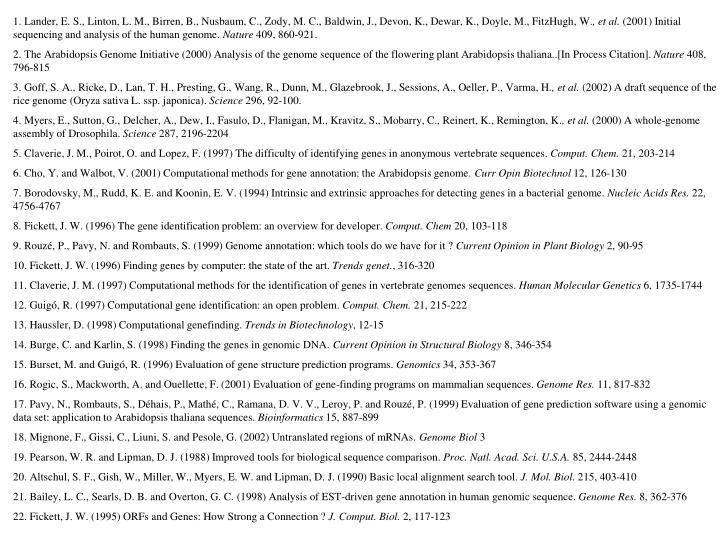 1. Lander, E. S., Linton, L. M., Birren, B., Nusbaum, C., Zody, M. C., Baldwin, J., Devon, K., Dewar, K., Doyle, M., FitzHugh, W.