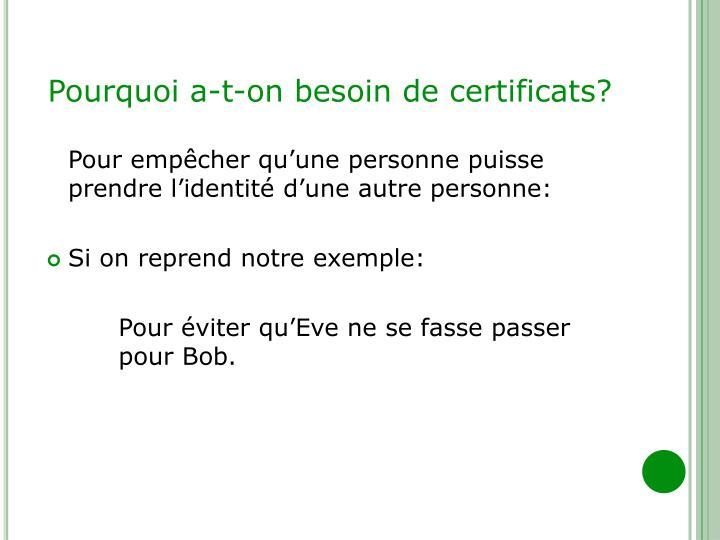 Pourquoi a-t-on besoin de certificats?