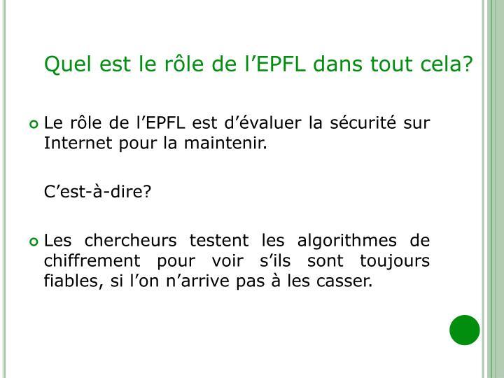 Quel est le rôle de l'EPFL dans tout cela?