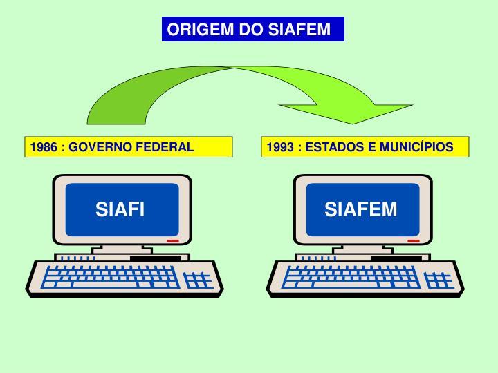 ORIGEM DO SIAFEM