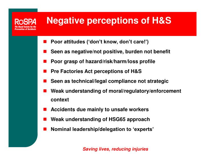 Negative perceptions of H&S