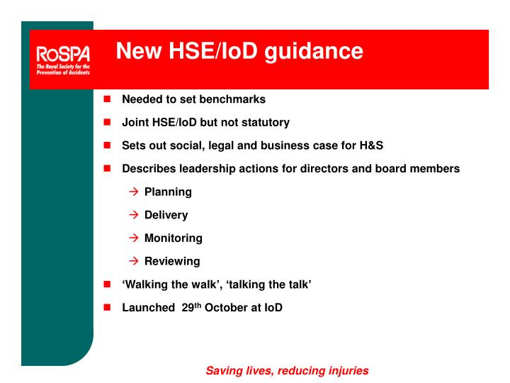 New HSE/IoD guidance