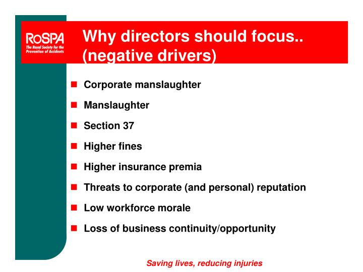 Why directors should focus.. (negative drivers)