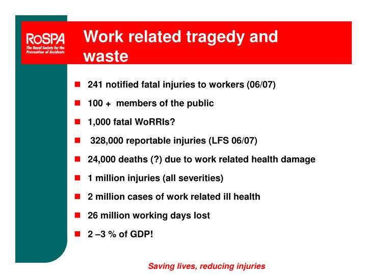 Work related tragedy and waste