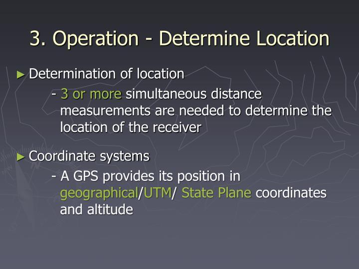 3. Operation - Determine Location
