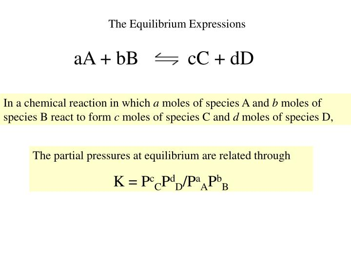 The Equilibrium Expressions