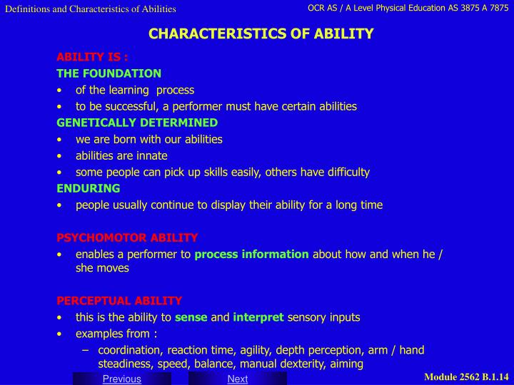 Definitions and Characteristics of Abilities