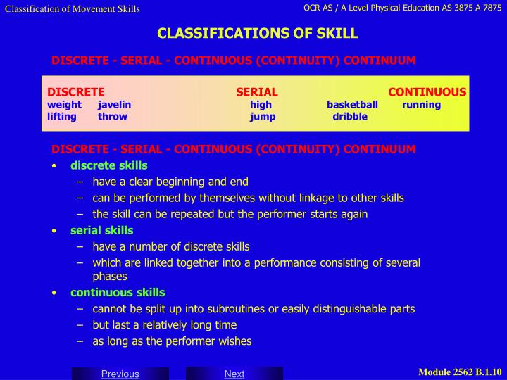 Classification of Movement Skills