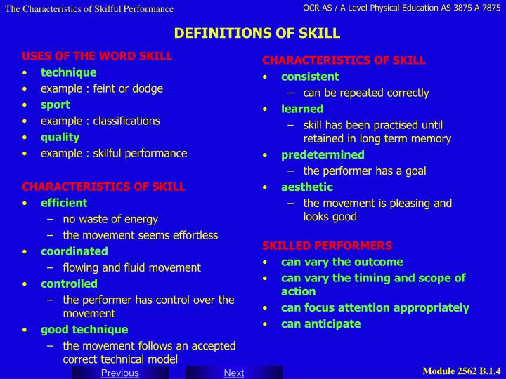 USES OF THE WORD SKILL